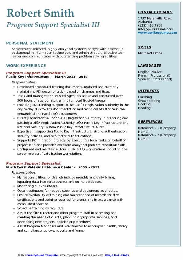 Program Support Specialist III Resume Model
