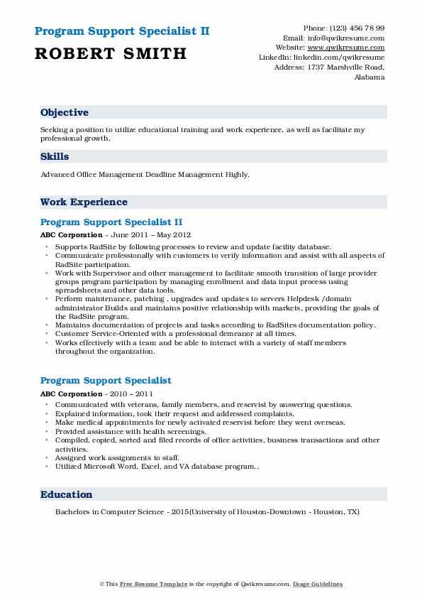 Program Support Specialist II Resume Format