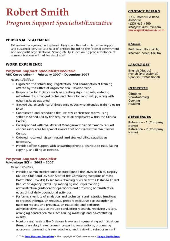 Program Support Specialist/Executive Resume Sample