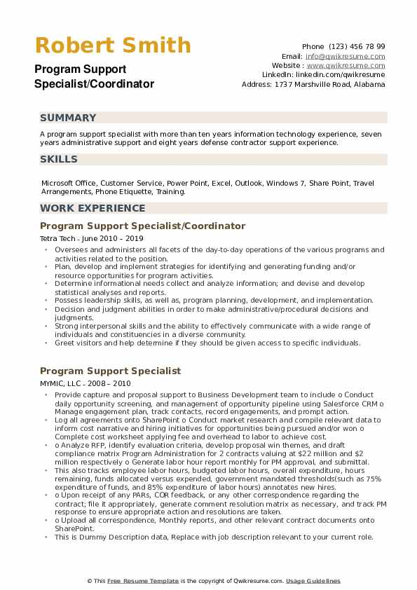 Program Support Specialist/Coordinator Resume Model