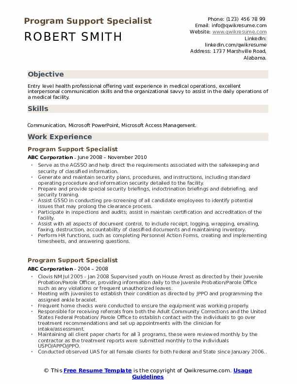 Program Support Specialist Resume example