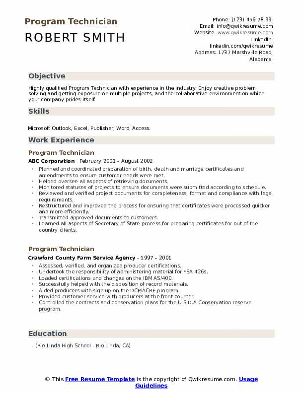 Program Technician Resume Format