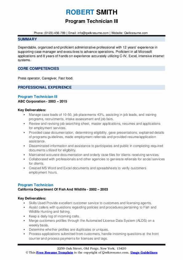 Program Technician III Resume Sample
