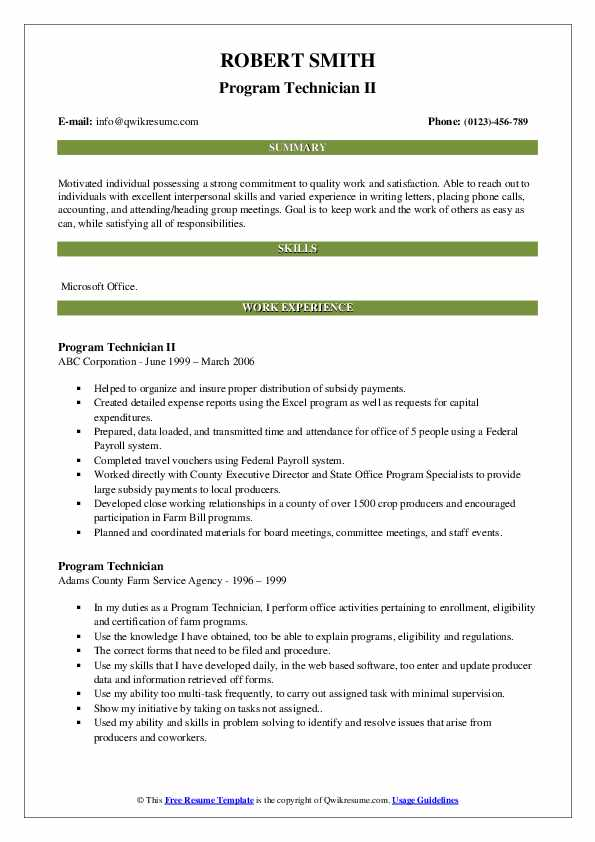 Program Technician II Resume Format