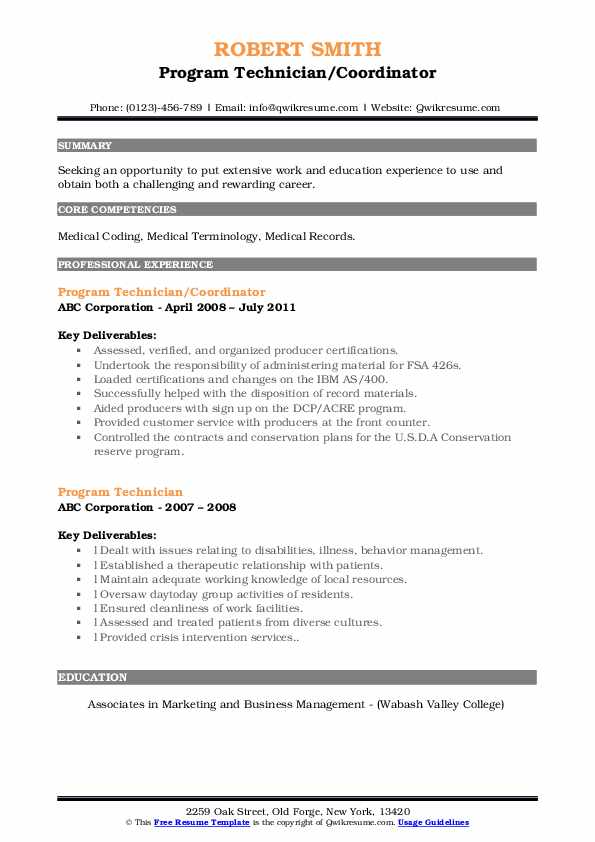 Program Technician/Coordinator Resume Format