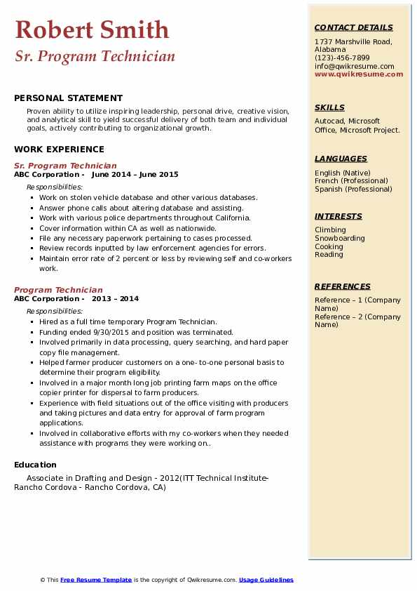 Sr. Program Technician Resume Sample