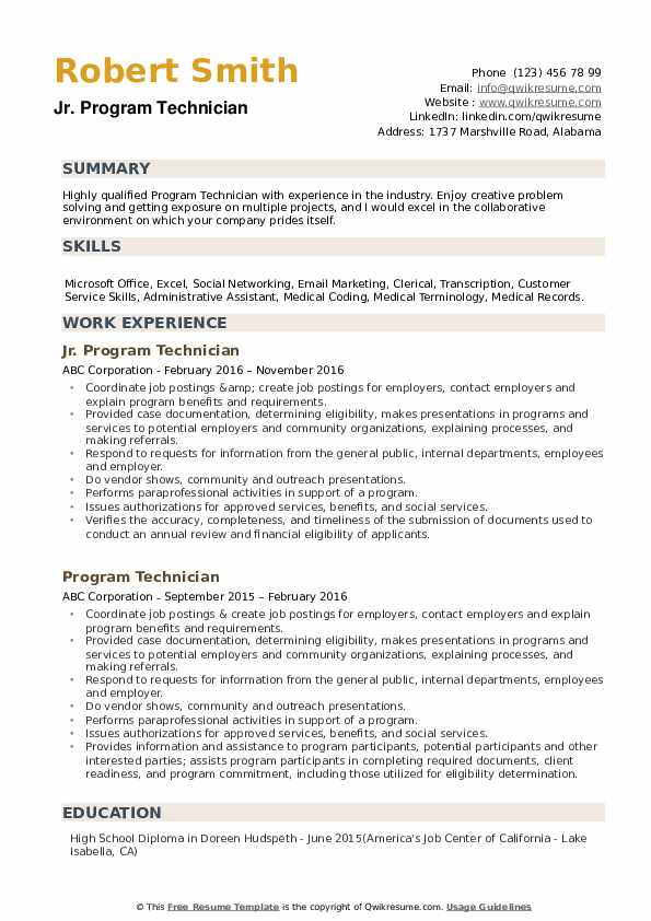 Jr. Program Technician Resume Model