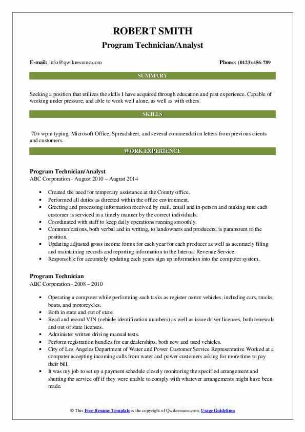 Program Technician/Analyst Resume Template