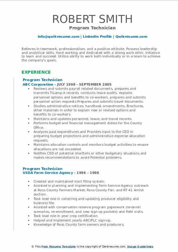 Program Technician Resume Model