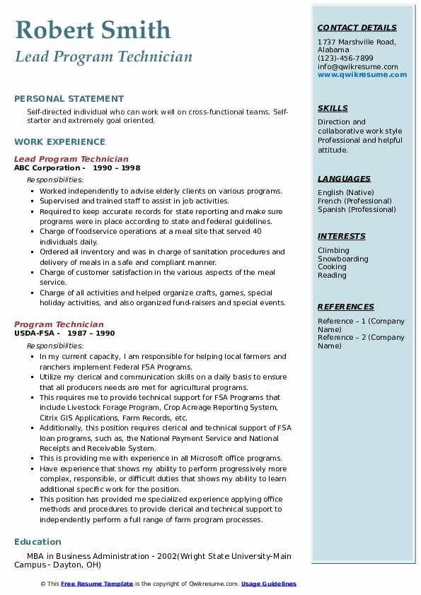 Lead Program Technician Resume Template