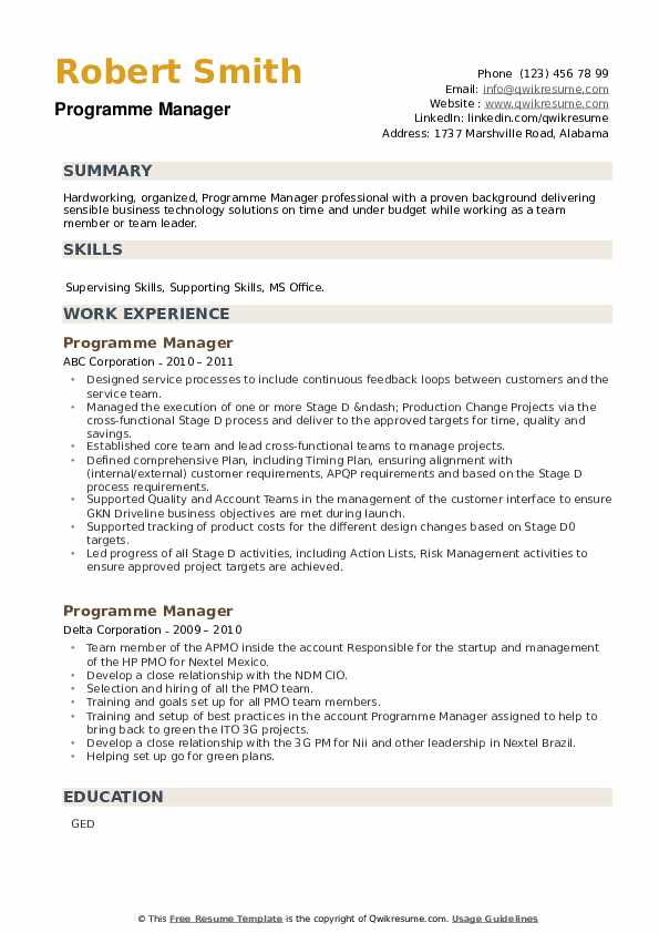 Programme Manager Resume example