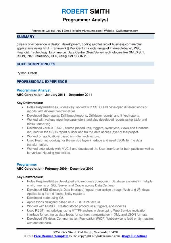 Programmer Analyst Resume Format