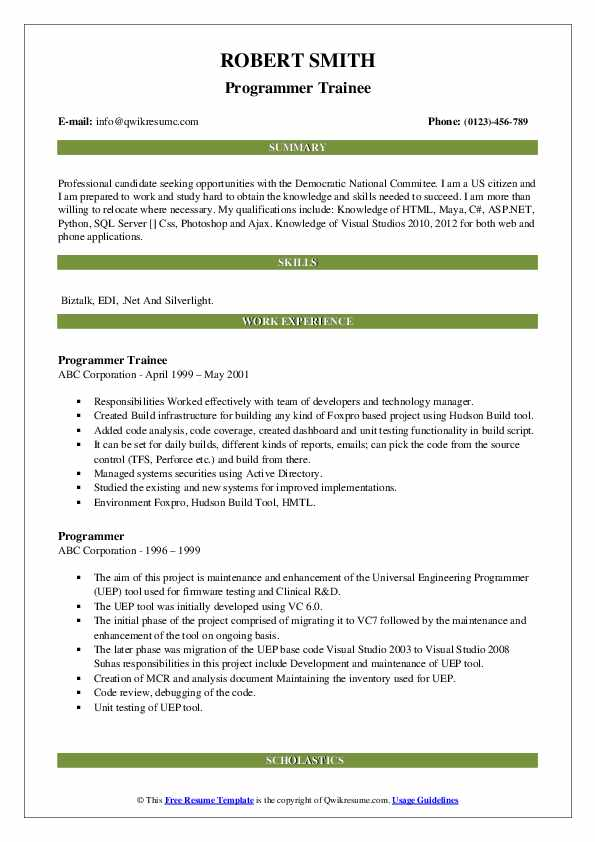 Programmer Trainee Resume Template