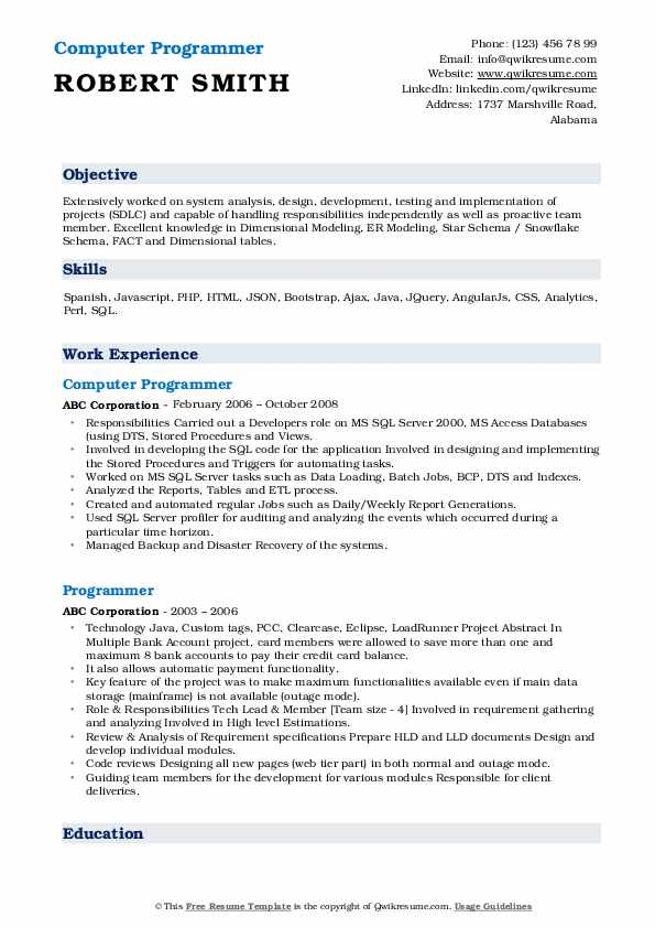 Computer Programmer Resume Model
