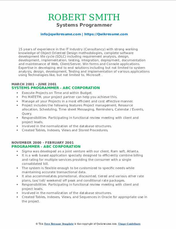 Systems Programmer Resume Example