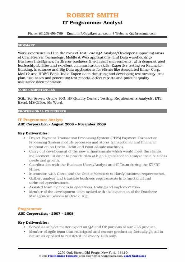IT Programmer Analyst Resume Template