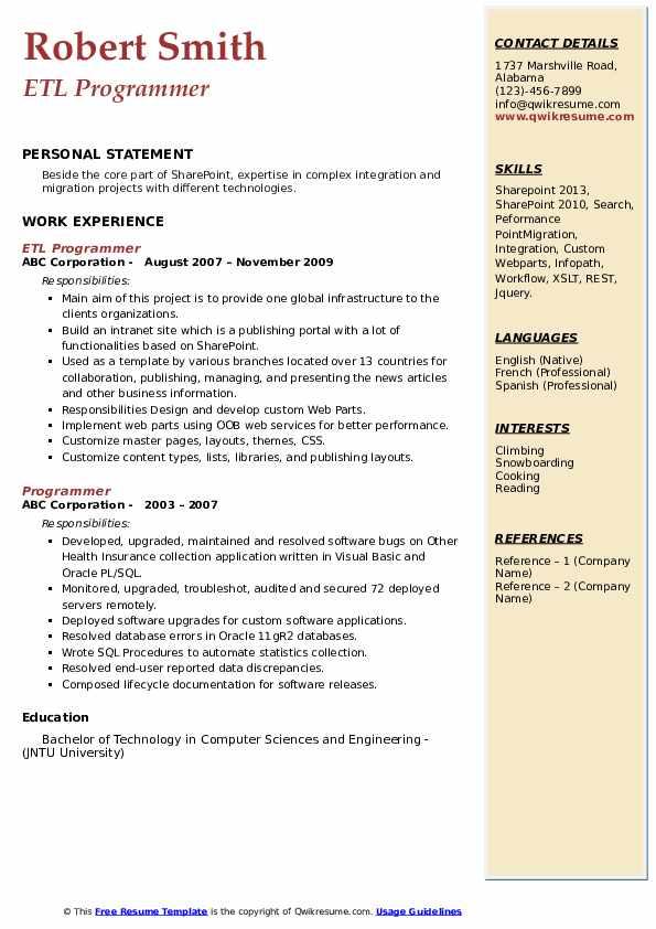 ETL Programmer Resume Example