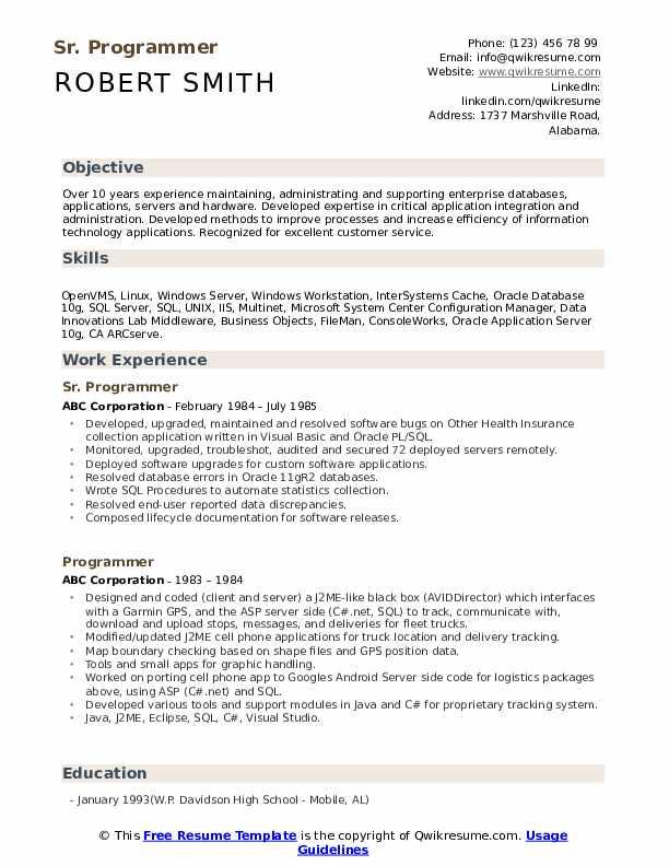 Sr. Programmer Resume Format