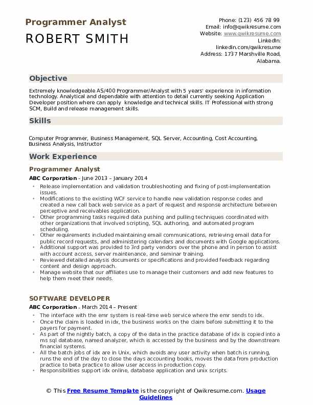 Programmer Analyst Resume Model