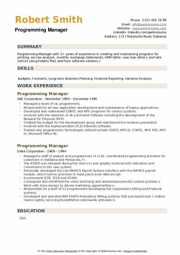 Programming Manager Resume example
