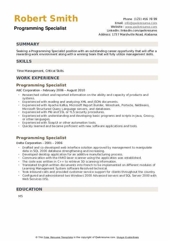 Programming Specialist Resume example