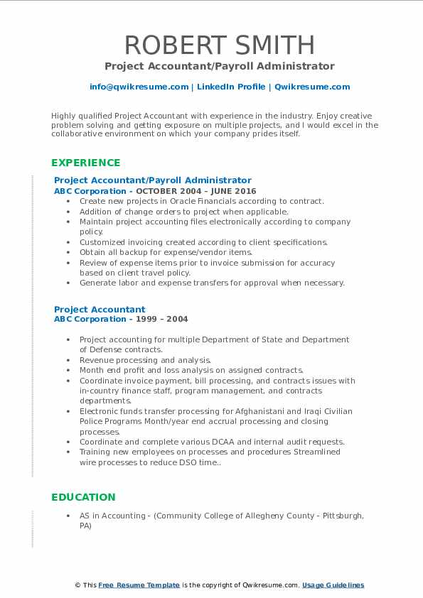 Project Accountant/Payroll Administrator Resume Template