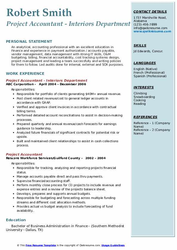 Project Accountant - Interiors Department Resume Template