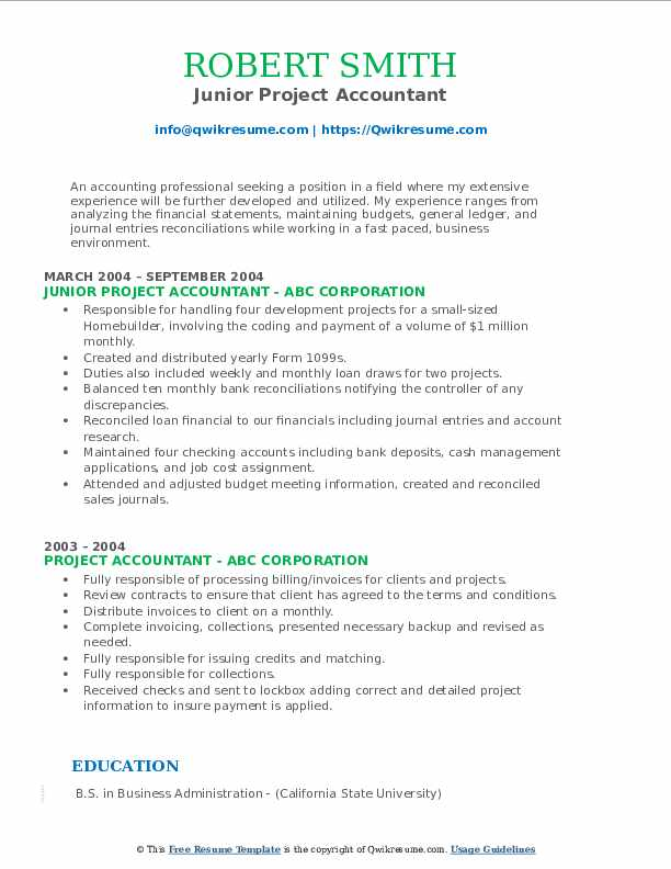 Junior Project Accountant Resume Format