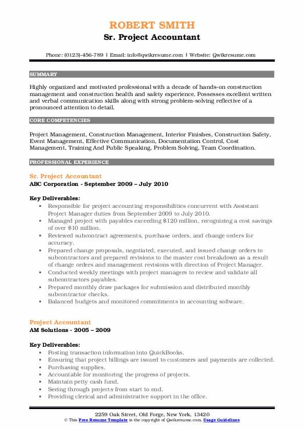 Project Accountant Resume Samples Qwikresume