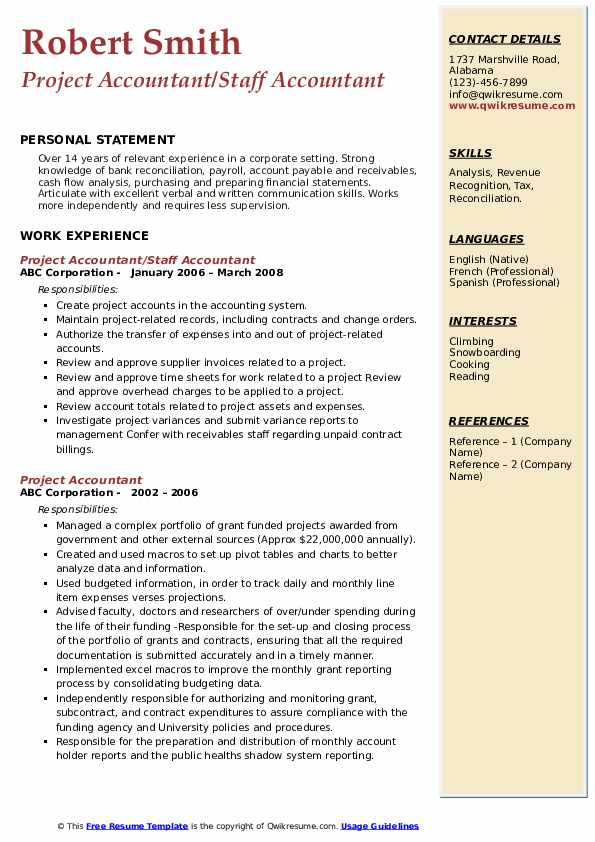 Project Accountant/Staff Accountant Resume Template