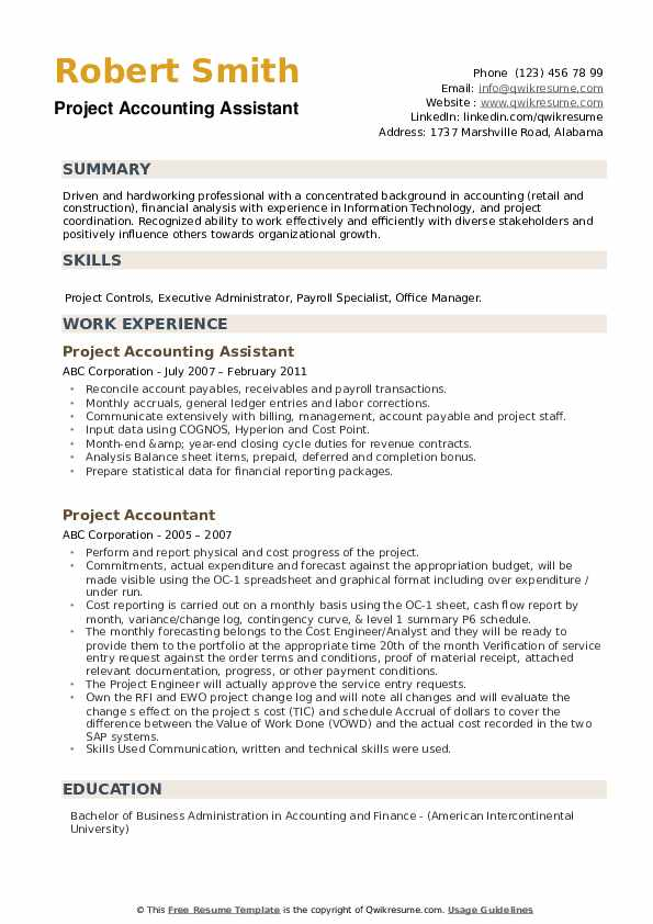 Project Accounting Assistant Resume Example