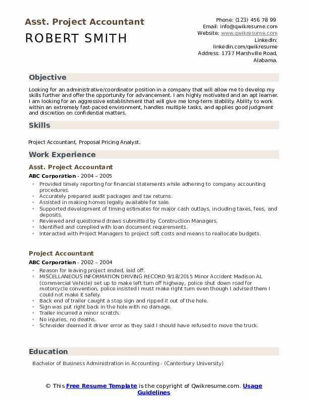 Asst. Project Accountant Resume Template