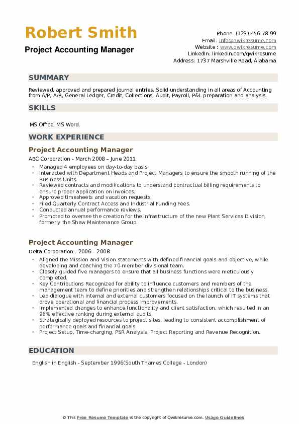 Project Accounting Manager Resume example