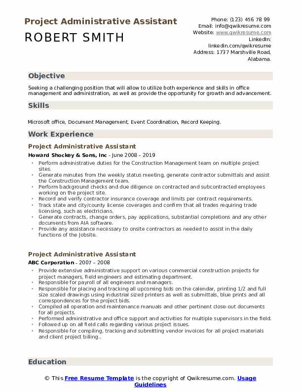 Project Administrative Assistant Resume Samples Qwikresume