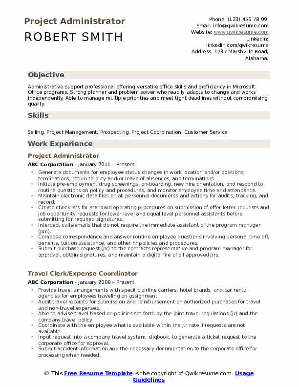 Project Administrator Resume Samples Qwikresume