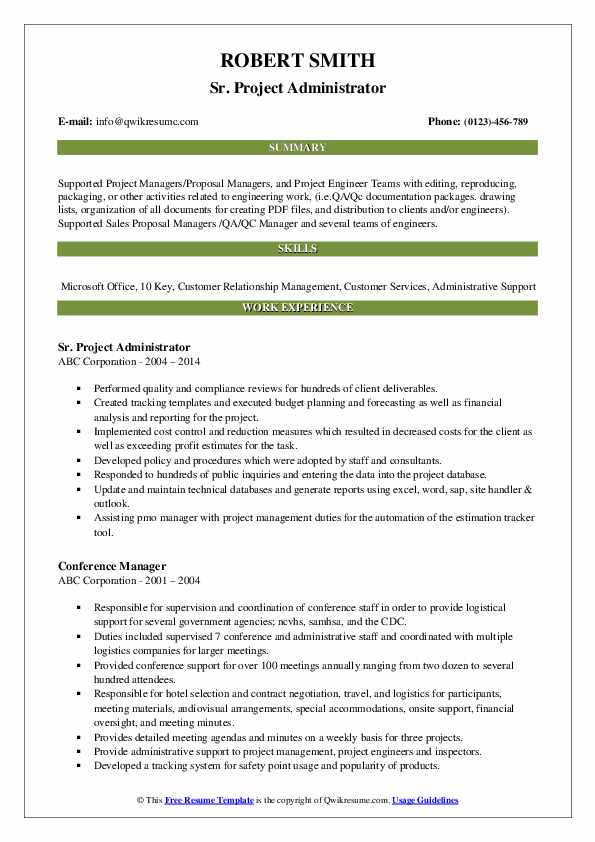 Sr. Project Administrator Resume Example