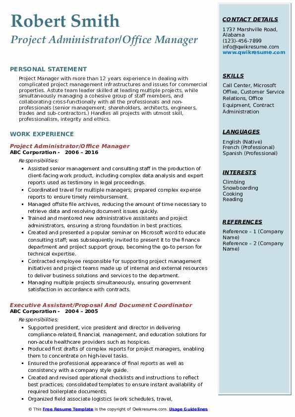Project Administrator/Office Manager Resume Sample