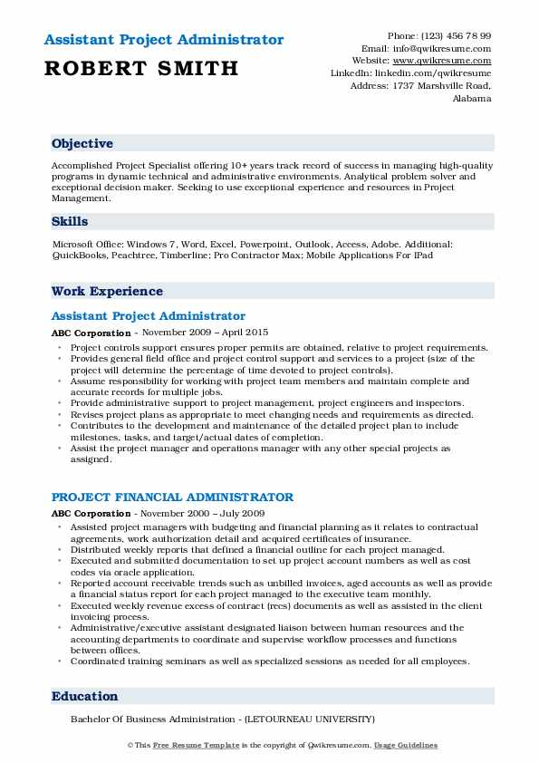 Assistant Project Administrator Resume Format