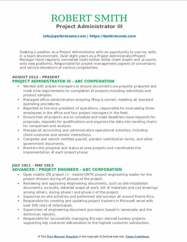 Project Administrator III Resume Sample