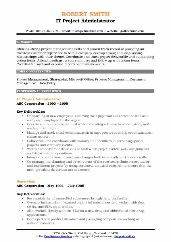 IT Project Administrator Resume Template