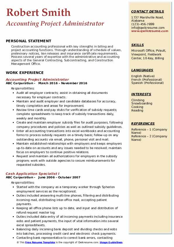 Accounting Project Administrator  Resume Sample