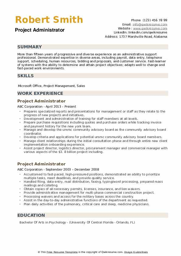 Project Administrator Resume example