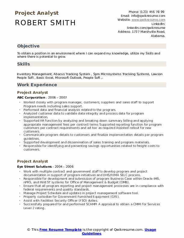 Project Analyst Resume Model