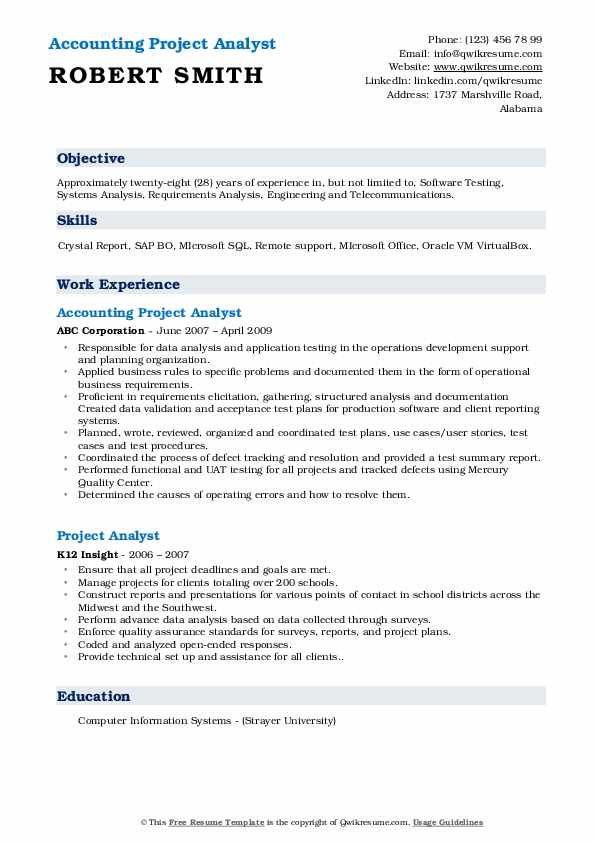 Accounting Project Analyst Resume Example