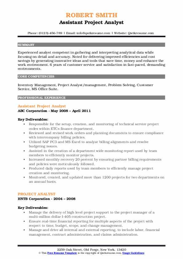 Assistant Project Analyst Resume Format