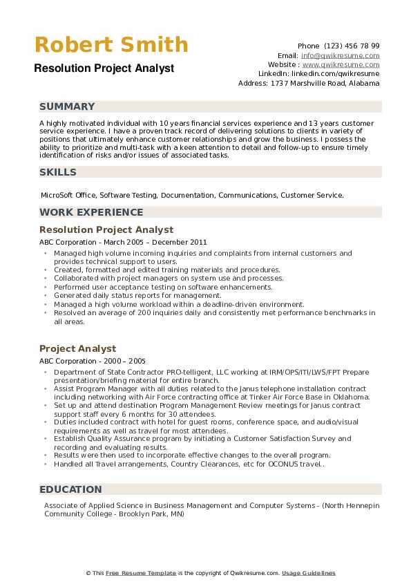 Resolution Project Analyst Resume Format