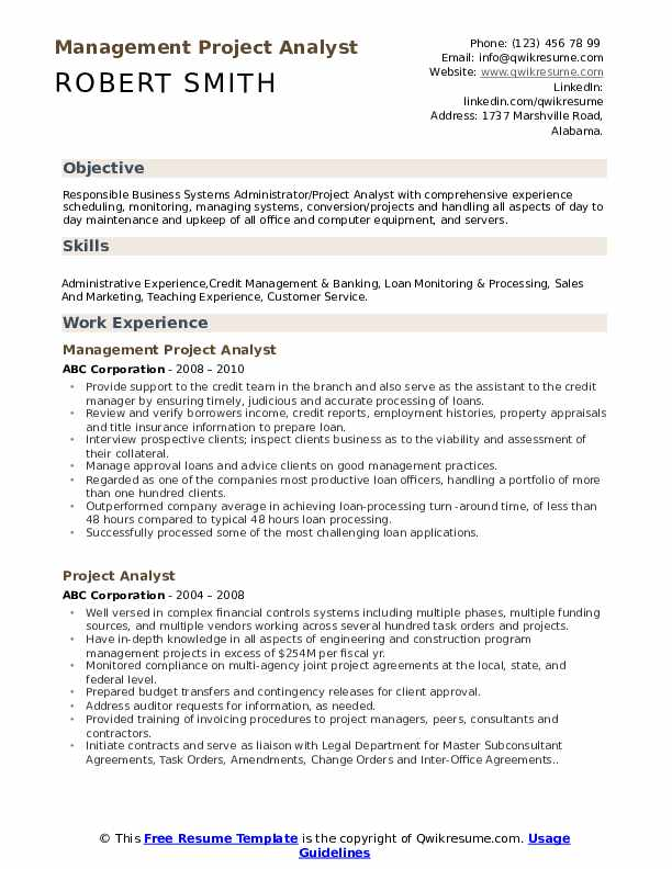Management Project Analyst Resume Format