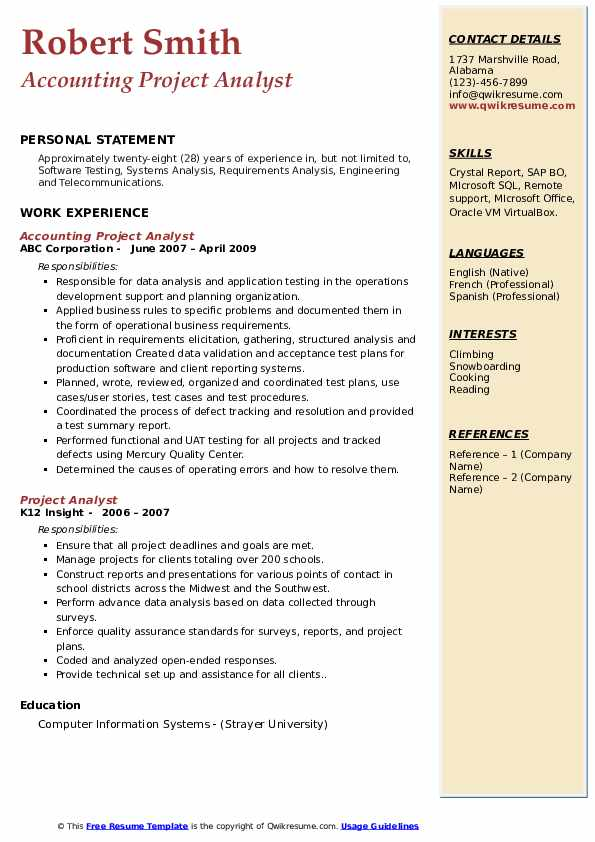 Senior Test Engineer Resume Format