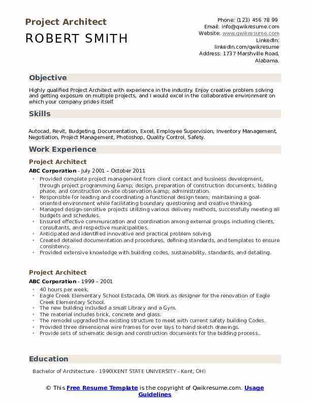 Project Architect Resume Template