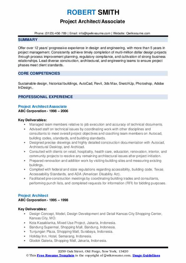 Project Architect Resume Samples Qwikresume
